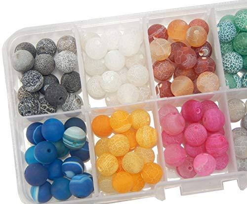 150stk Edelstein Achat Perlen Set mit Sortierbox 8mm Matt Naturstein Crackle und Streifen 10 Farben Schmuck Bastel-Set
