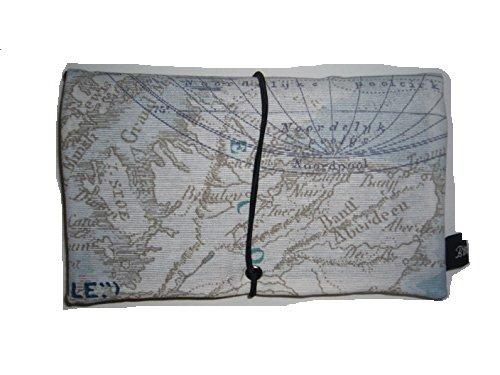 Büroteuse Tabaktasche / Drehertasche im braunem antikem Weltkarten Design, jede Tasche ein Unikat! Weltkarte antik blau