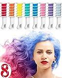 Tizas para Pelo - Set de Coloración de Cabello Temporal con Peines Capa Tinte de Pelo Azul Rojo Rosa Verde Morado Gris Amarillo Naranja - Mechas de Colores Para el Pelo Lavables al Instante