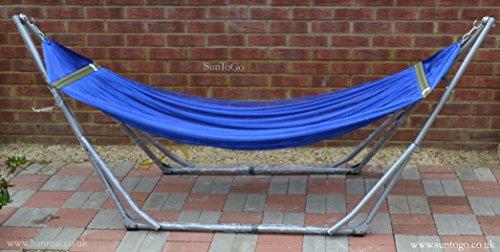 Neue Premium zusammenklappbar Hängematte stehen, mit blauem Doppel Hängematte Net., gratis Tragetasche. Hängematte Ständer für Innen und Außenbereich (Innen-hängematte Stehen)