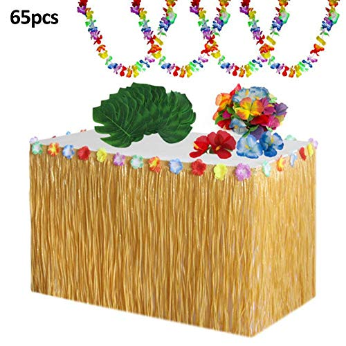 Party Deko Set 9 Fuß Hawaii-Tischrock Palmenblätter Hawaiianische Blumen Luau Tropische Blumengirlande Hawaiian Luau Party Tischdekoration ()