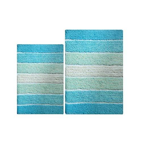 Chardin home-100% Reine Baumwolle-2Stück cordural Stripe Badteppich-Set, (61x 101,6cm & 53,3x 86,4cm) mit Latex Spray, rutschhemmenden Unterseite, Aqua, Einheitsgröße -