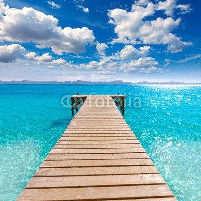 """Leinwand-Bild 100 x 100 cm: \""""Platja de Alcudia beach pier in Mallorca Majorca\"""", Bild auf Leinwand"""