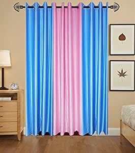 Blossom 3-Piece Cursh Plain Door Curtain - 7x4 feet, Multicolour