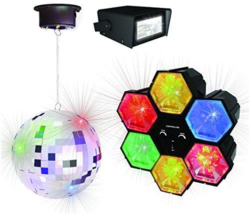 Party-Set PartyFunLight, 3-teilig, mobil mit Spiegel-Kugel, Stroboskoplicht und Lichtorgel