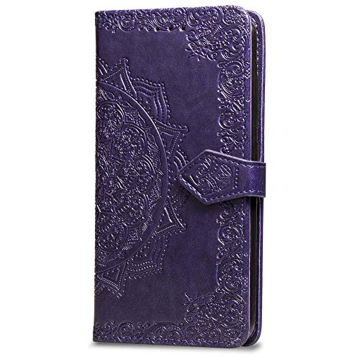 3C Collection Fundas iPhone XS MAX Tapa de Falsa Piel Mandala Morado, Fundas iPhone XS MAX Libro Iman con Tarjetero, Grabado Flores de Funda para iPhone XS MAX Antigolpes Mujer
