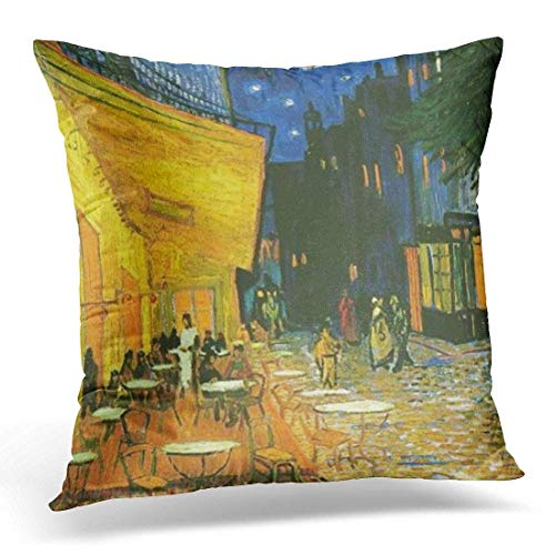 olorful Vincent Cafe Painting by Van Gogh Yellow Oil Decorative Pillow Case Home Decor Square 18x18 Inches Pillowcase ()