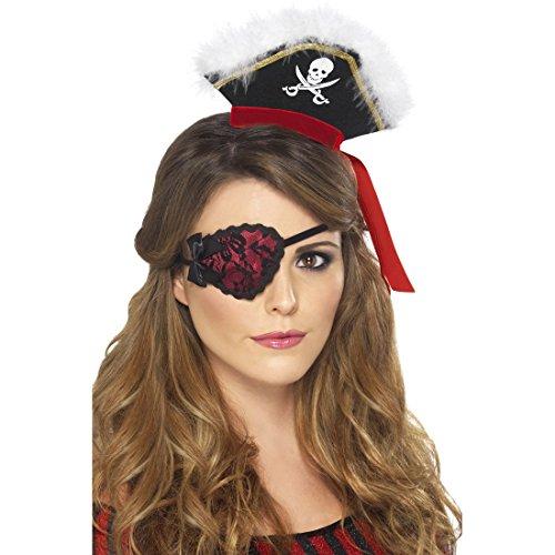 Amakando Piraten Augenklappe Sexy Piratenklappe mit Spitze Piratin Augen Klappe Lady Pirat Kostüm Accessoires Piratenaugenklappe Hexen Kostüm ()