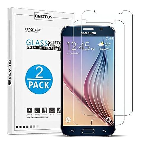 [2- Pièces] Samsung Galaxy S6 Film Vitre Protection Verre Trempé OMOTON Ecran Protecteur Pour Samsung Galaxy
