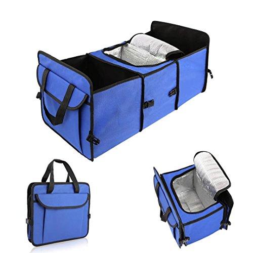 Preisvergleich Produktbild WHDZ Faltbar Car Boot Bag Kofferraum Trunk Organizer Auto Universal-zusammenklappbar Back Seat Aufbewahrungstasche Box mit Isolationsfunktion für Auto SUV LKW Jeep in Blau