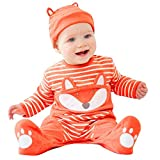 LHWY Baby Overall Winter Neugeborenes Jumpsuit Jungen Mädchen Cartoon Fox Gestreiften Strampler Overall + Hut Outfits Kinder (80, Orange)