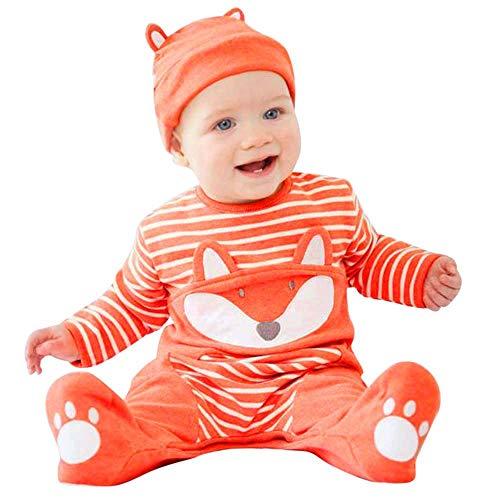 BURFLY Neugeborenes Baby Jungen Mädchen 3D Cartoon Fox Print Striped Strampler Jumpsuit Tops + Hut Outfits Set (Orange)