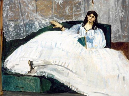 Posterlounge Leinwandbild 160 x 120 cm: Jeanne Duval von Edouard Manet - fertiges Wandbild, Bild auf Keilrahmen, Fertigbild auf echter Leinwand, Leinwanddruck