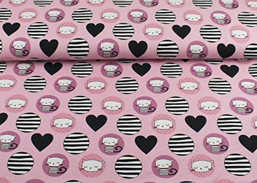 Excellenter Jersey Stoff mit Katzen im Kreis und schwarzen Herzen auf Rosa | Maße: 25 cm x ca. 145 cm | 1A ÖKO-TEX Qualität Standard | (Katze Jersey)