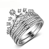 #7: Women's Fashion Queen Crown Pattern Ring Set Rhinestone Two piece Rings Alloy Crystal Rhodium Plated Ring (7, 0.0001)