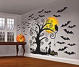 Großes Wand-Dekorations-Set * HALLOWEEN PARTY * für eine Horror-Party mit 31 Teilen // Deko Party Mottoparty Motto Wall Decorating Kit Fledermaus Rabe Grabsteine Katze Spinne