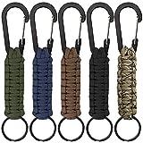 SENHAI 5 portachiavi in paracord con moschettone, cordino intrecciato ad anello clip per chiavi, coltello, torcia da campeggio, escursionismo zaino adatto per uomini e donne - 5 colori