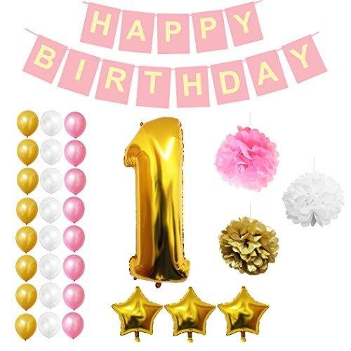 1ère fête de joyeux anniversaire Ballons, fournitures et décoration - 32 pcs - Grand ballon de 1 an en aluminium 12 Décoration de ballon en latex doré, blanc rose - Décor adapté aux tout-petits