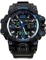 HUKOER Reloj de pulsera reloj con Dial grande Digital Impermeable deportivo Fecha/Calendario/Cronógrafo/ Alarma Tiempo Dual Display para chicos hombres (Azul)