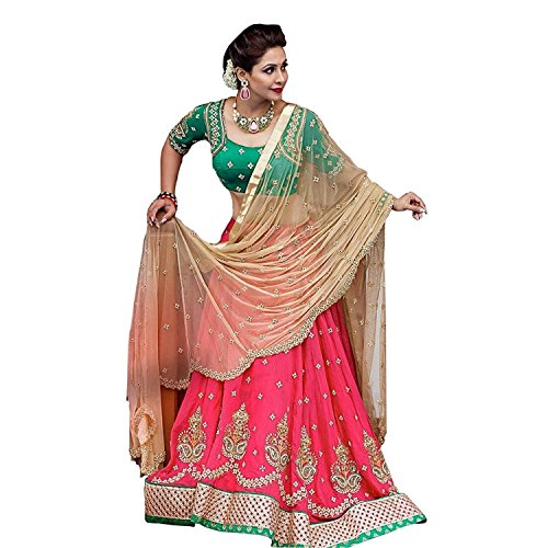 Morpich Fashion Pink Banglory Silk Embroidery Lehengas Choli With Blouse Piece(Teja Pink)
