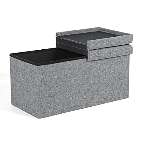 Songmics Folding Ottoman Storage Bench Box with Hinged Cover 76 x 38 x 38 cm Linen Grey LSF41G
