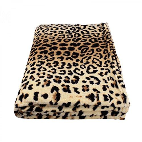 Super flauschige Kuscheldecke | Tagesdecke in 15 Farben oder Felloptik verfügbar | Wohndecke aus Mikrofaser | Fleecedecke 150 x 200 cm Leopard (Baumwolle Leopard 100%)