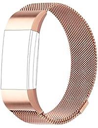 Para Fitbit Charge 2bandas, Milanese Loop pulsera de acero inoxidable correa de reloj inteligente con único imán cerradura para Fitbit Charge 2pulseras de recambio grande pequeño, oro rosa, small
