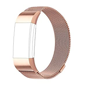 For Fitbit Charge 2 Strap Bands Replacement, Milanese Loop Stainless Steel Bracelet Smart Watch Wristbands with Unique Magnet Lock for Fitbit Charge 2 Small Rose Gold