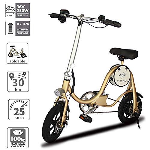 Chtoys bicicletta elettrica pieghevole classica in alluminio cycle con motore da 250 w ad alta coppia e freni a doppio disco; bici elettrica con pedalata assistita e batteria da 36 v 7,8 ah