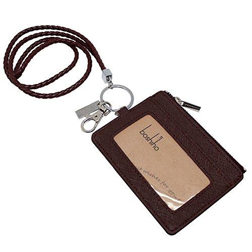 boshiho Saffiano-Leder Badge Holder ID Kartenhalter mit Kleingeld Geldbörse 4.3 x 3.3 x 0.2 inch Brown with Keychain (Brown-leder-id-halter -)