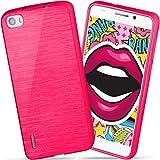 moex Huawei Honor 6 | Hülle Silikon Pink Brushed Back-Cover TPU Schutzhülle Ultra-Slim Handyhülle für Honor 6 Case Dünn Silikonhülle Rückseite Tasche