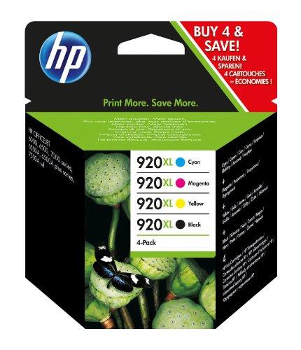 Preisvergleich Produktbild HP 920 XL Multipack Original Druckerpatronen (geeignet für HP Officejet), schwarz/blau/magenta/gelb