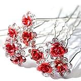 Accessoires cheveux coiffure mariage 1 lot de 5 épingles à chignon fleurs à strass rouges...