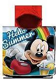Mickey Mouse, Poncho da Spiaggia in Cotone, 120 x 60 cm, Motivo Topolino, per Il Tempo Libero e Lo Sport, Unisex, per Bambini, Taglia Unica