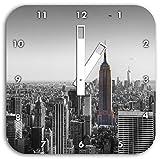 traumhafte Empire State Building schwarz/weiß, Wanduhr Quadratisch Durchmesser 28cm mit weißen eckigen Zeigern und Ziffernblatt, Dekoartikel, Designuhr, Aluverbund sehr schön für Wohnzimmer, Kinderzimmer, Arbeitszimmer