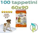 Palucart tappetini igienici per cane 60x90 100 pezzi traversine cani animali domestici con adesivo...