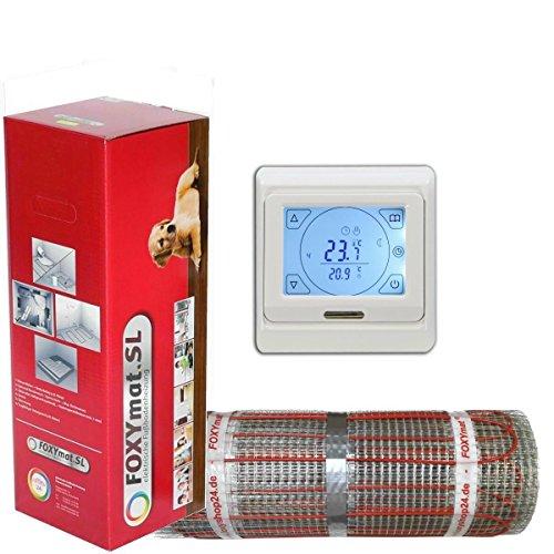 FOXYSHOP24-elektrische Fußbodenheizung PREMIUM MARKE FOXYMAT.SL RAPID (200 Watt pro m²,für die schnelle Erwärmung) mit Thermostat QM-BLUE-TS,Komplett-Set, 3.5 m² (0.5m x 7m)