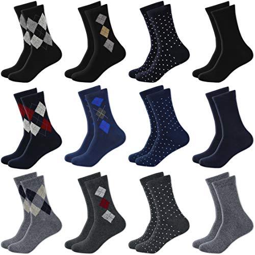 MC.TAM® Herren Jungen Bunte Socken Strümpfe 12 Paar 90% Baumwolle Oeko Tex® Standard 100, 39-42, 12 Paar Mix 1&2 -