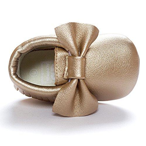 Malloom Chaussures bébé glands crèche bowknot chaussures tout-petits baskets casual chaussures antidérapantes Or