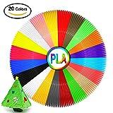 3D Drucker Filament 1.75mm PLA 3D Filament Pack von 20 Verschiedenen Farben, 3D Stift Filament Nachfüllung Schleifen, Jede Farbe 10 Füße Sicher, Kein Geruch, 3D Filament Schwarz für Kinder