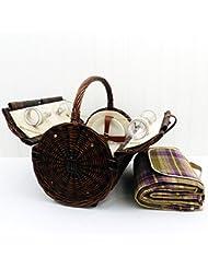 Stamford 4 persona cesta de picnic de mimbre con la manta púrpura impermeable de tartán