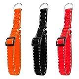 Hunde Design Reflektor Dressurhalsband mit Stoppring Orange 44-74cm / 25mm