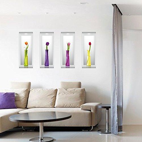 3D Simulation dimensionales Vase Muster entfernbare Wandaufkleber für Wohnzimmerdekoration des Raum Fernsehhintergrundes dekorative Hauptdekoration 60 * 90cm (einzelne Größe 22 * ??58cm)