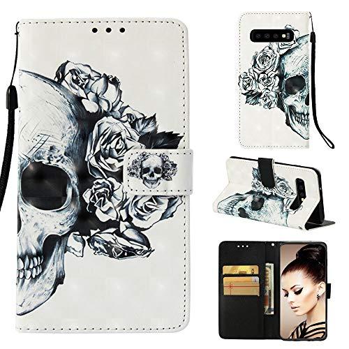 CoverKingz Handy Schutzhülle für Samsung Galaxy S10 Handy Cover Schutzcase, Flip Hülle mit Kartenfach, Motiv Totenkopf
