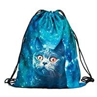 Tskybag Unisex Boys Girls Teenager Drawstring Bag,School Backpack Rucksack Handbag Shoulder PE Kit Bag Gym Bag Travel Pouch String Travel Gym (Blue Cat)