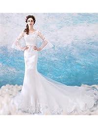 Amazon.it  Vestiti Da Sposa A Sirena - Bianco   Abbigliamento ... 5d2e0ce6d49