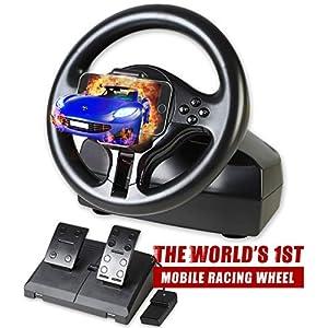 Serafim R1 Racing Wheel – Gaming Lenkrad mit reaktionsfähigem Pedal – Das weltweit erste Mobile Gaming Rad kompatibel…