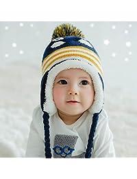 HuntGold mignon coloré manchot avec casquette velours chaud hiver cache-oreilles chapeau pour bébé bleu