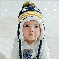 HuntGold mignon coloré manchot avec casquette velours chaud hiver cache, oreilles chapeau pour bébé bleu