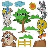 14 tlg. Set: 3-D Wandbild / Wandtattoo / Türschild - Baby Looney Tunes aus Moosgummi incl. Namen - Tweety Bugs Bunny Wandsticker Wanddeko für Kinderzimmer Kind Kinder Deko Bilder Mädchen Jungen